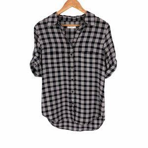 Equipment Femme Plaid Silk Button Up Short Sleeve
